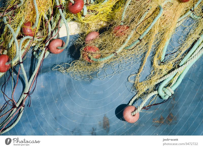 Fishnet lies to dry on plastic sheet Trawl netting fishnet Fishery Blue Abstract Structures and shapes Detail Muddled Rope String Maritime splayed Dry gear