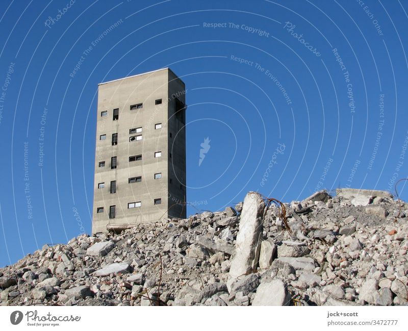 deep blue, the rubble and the tower Tower Architecture lost places Sunlight Neutral Background Ravages of time Remainder Change Apocalyptic sentiment Broken
