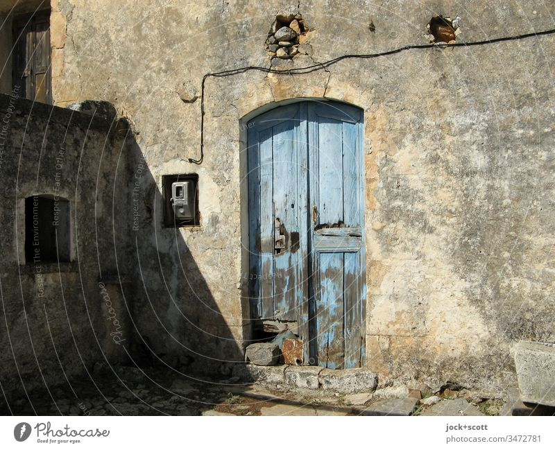 what remains when farmers leave their farm Front door Farm Wooden door Facade Wall (building) lost places Ravages of time Transience Architecture Style Day