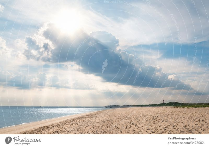 Beach landscape on Sylt island with beautiful clouds Frisian Germany Schleswig-Holstein Wadden sea atmosphere beach blue sky canopy cloudscape coast europe