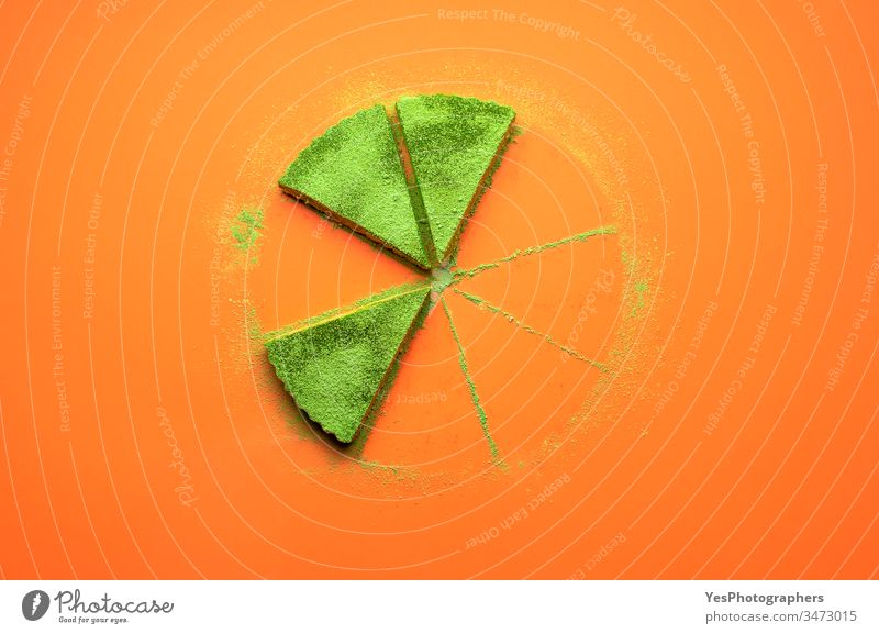 Matcha cheesecake slices. Three pieces of matcha cake colorful confectionery creamy delicious dessert eaten cake flat lay food gelatine dessert green tea powder