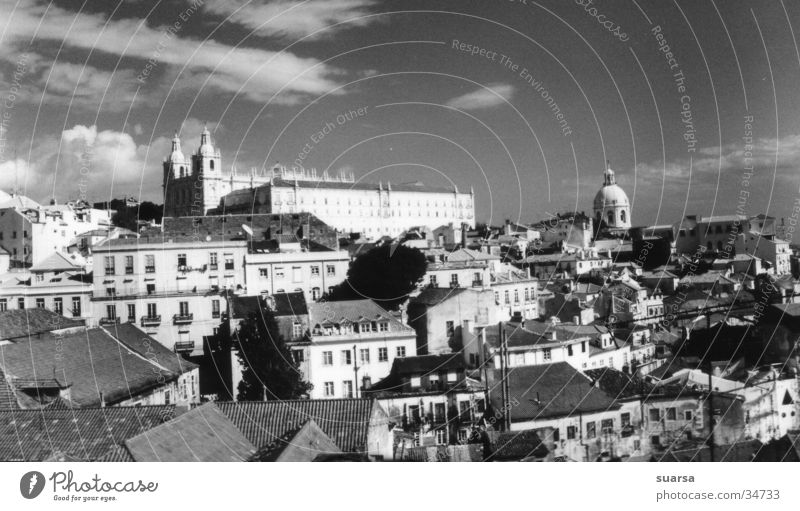 Above the rooftops of Lisbon Vacation & Travel Portugal Europe Town Downtown Old town Church Palace Architecture Tourist Attraction Landmark Monument Large