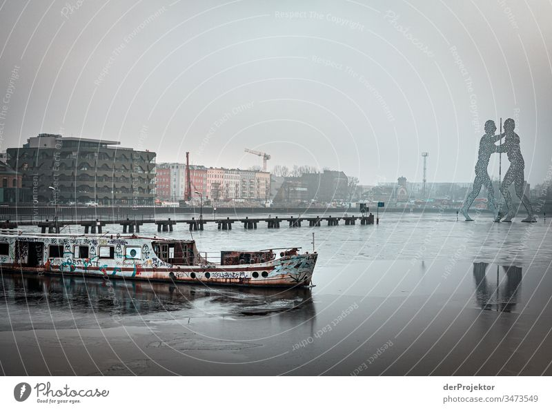 Molecule Man in the morning in winter Long shot Deep depth of field Sunbeam Reflection Contrast Shadow Light Morning Copy Space middle Copy Space bottom