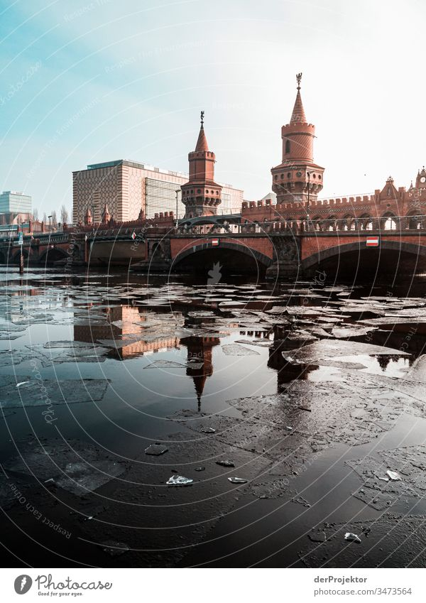 Oberbaumbrücke in the morning in winter III Long shot Deep depth of field Sunbeam Reflection Contrast Shadow Light Morning Copy Space middle Copy Space bottom