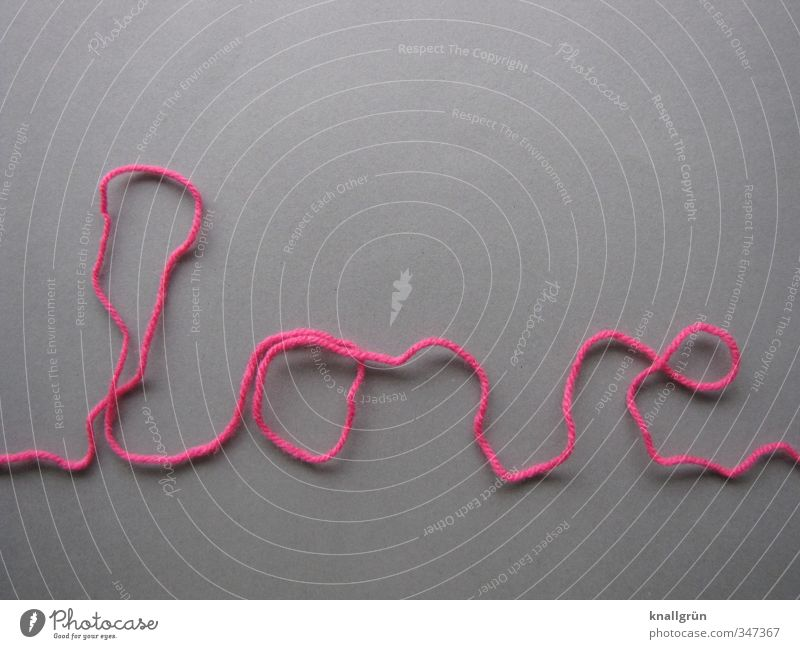 love line Wool String Characters Communicate Gray Pink Emotions Happy Love Infatuation Romance Creativity Word Studio shot Deserted Copy Space top