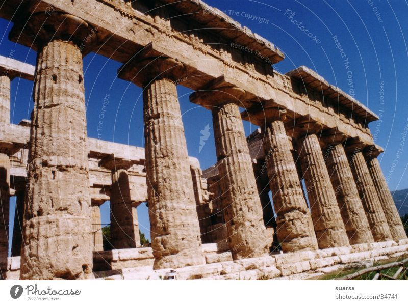 The Temples of Paestum 2 Italy Greek Vacation & Travel Europe Light Culture Historic Building Architecture Column Römerberg Sky
