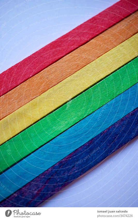 lgbt flag with wooden sticks, rainbow flag chopsticks colors colorful multicolored multi colored gay pride symbol peace tolerance decorative decoration ornate