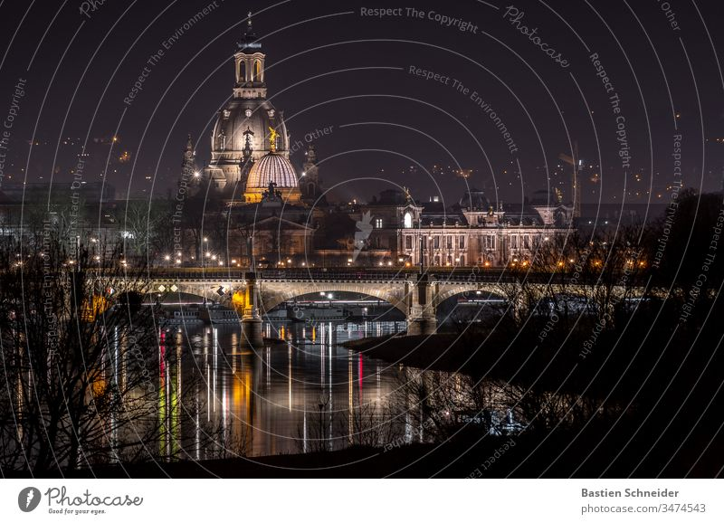 View of the old town of Dresden Esthetic Detail Semper Opera Contentment Art Silhouette Dome Church Dark Monument Manmade structures Historic Copy Space left