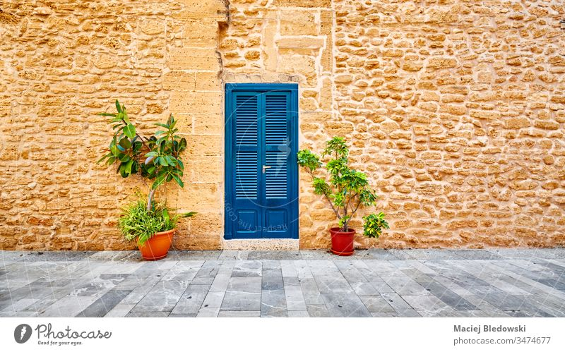 Ancient stone wall with blue door and pot flowers by a street. Spain old town Mallorca ancient Alcudia building house travel pavement architecture summer nobody