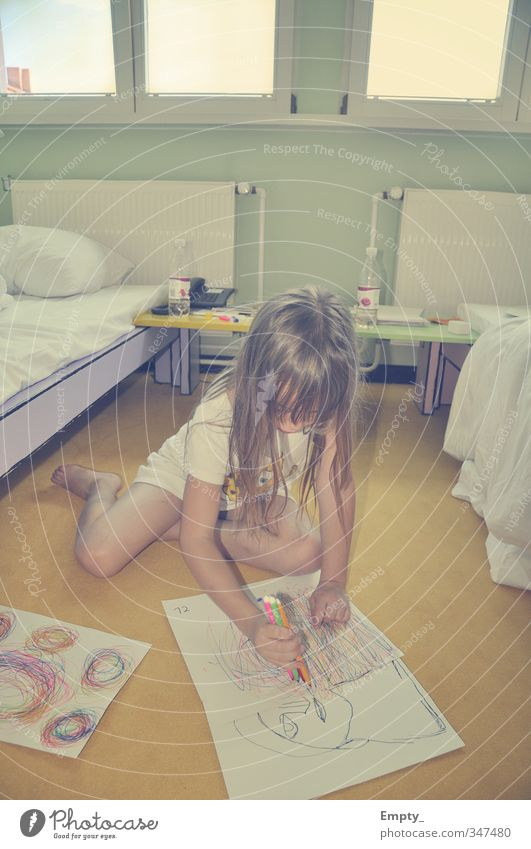 the creation of a work of art Child Girl Hair and hairstyles Draw Painting (action, artwork) Paper Art Work of art Crayon Multicoloured Bed Hotel room Window