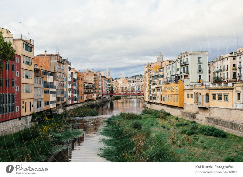 The old town of Girona, Spain Gerona River Old town old town house Autumn Clouds Sky Historic Historic Buildings Tourist Attraction worth seeing Tourism