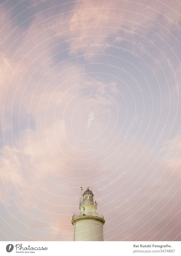 La Farola, the old lighthouse of Malaga Lighthouse Sunset Sunrise Sky Beautiful weather Deserted Exterior shot Colour photo Twilight Coast Clouds Architecture