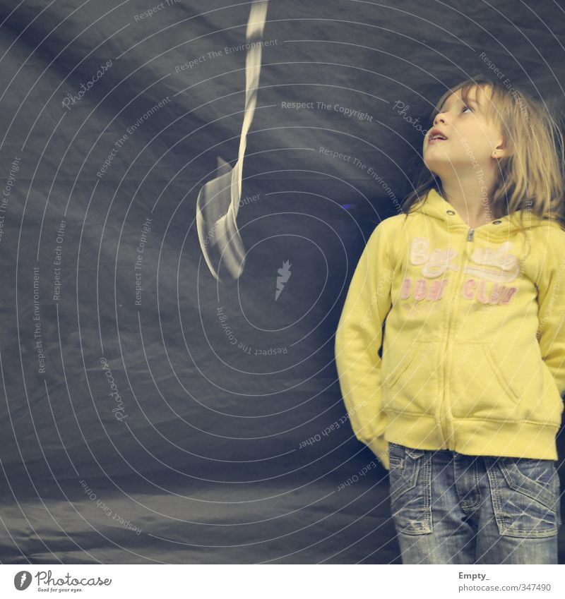 fly balloon ... fly Child leash Girl Looking Balloon sweatshirt Yellow Motion blur Background picture