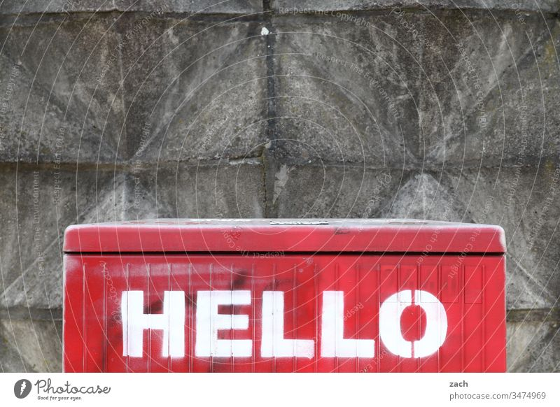 Writing Hello on a wall hello Salutation Communicate Copy Space top Graffiti Characters lettering Copy Space bottom Wall (barrier) Sign Facade Wall (building)