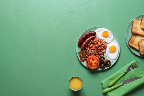 English breakfast on a plate. British traditional full breakfast bacon baked beans bread british breakfast colorful cuisine delicious english breakfast european