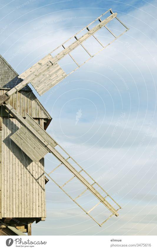 old restored trestle windmill, half shown bock windmill Windmill Wood Windmill Grand piano Windmill vane Technical monument Mill Historic Sky grind Monument