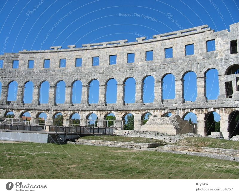 Colosseum Ancient Summer Green Ruin Historic pula Blue