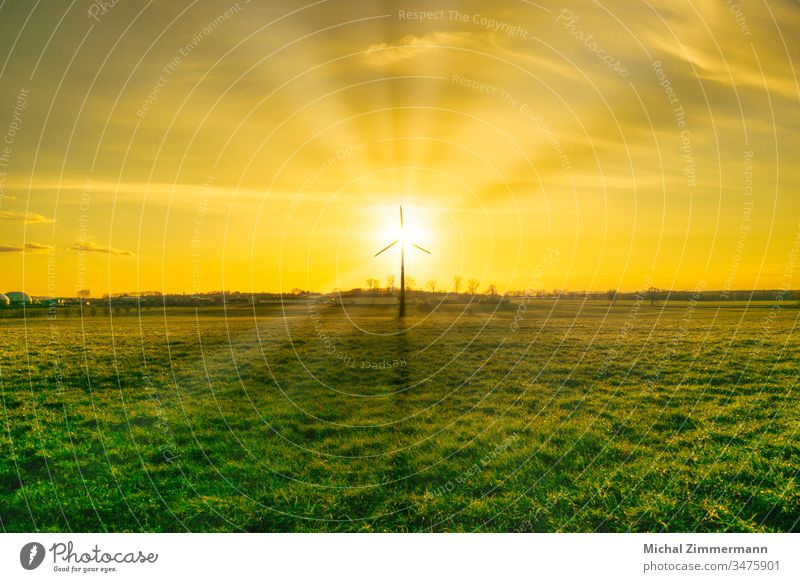 Wind power plant with biogas plant in sunshine/sunrise/sunset with green pasture grass Wind energy plant Sunrise Sunbeam Sunset Sunlight biogas facility