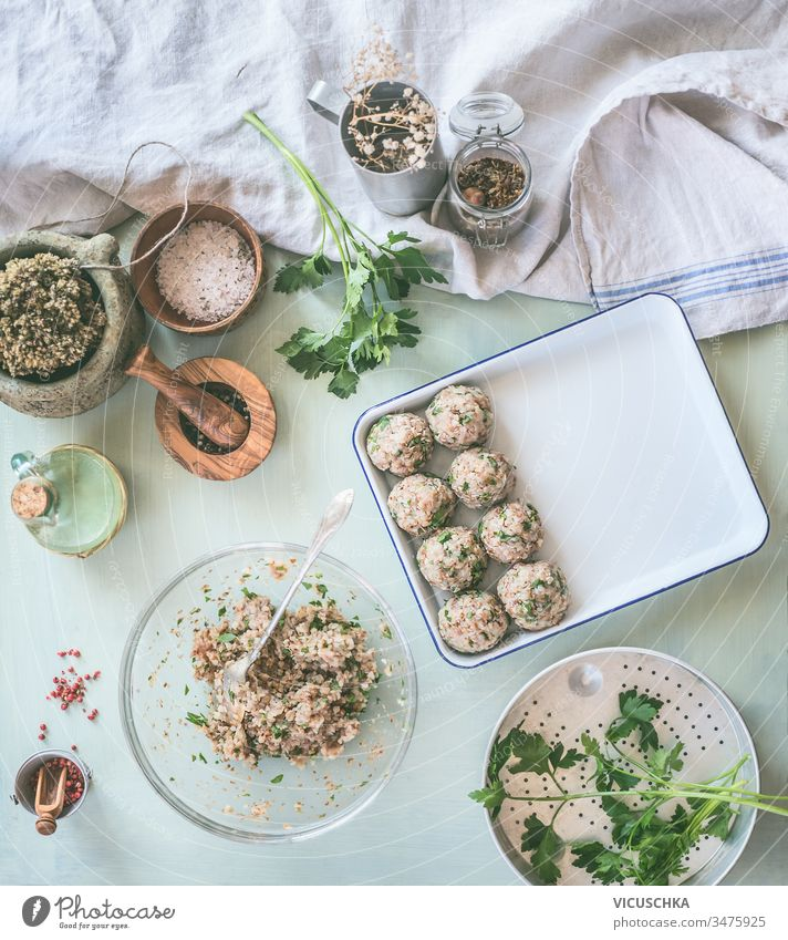 Preparation of tasty buckwheat balls on kitchen table with ingredients. Healthy home cooking and eating concept preparation healthy appetizer background cuisine