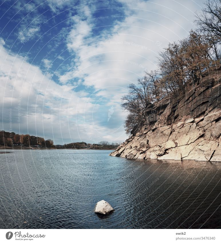 Lusatian Granite Coast Lake Stone steep coast Sky Clouds Landscape Nature Reservoir rock trees Horizon Rock Exterior shot Colour photo Deserted Lausitz forest
