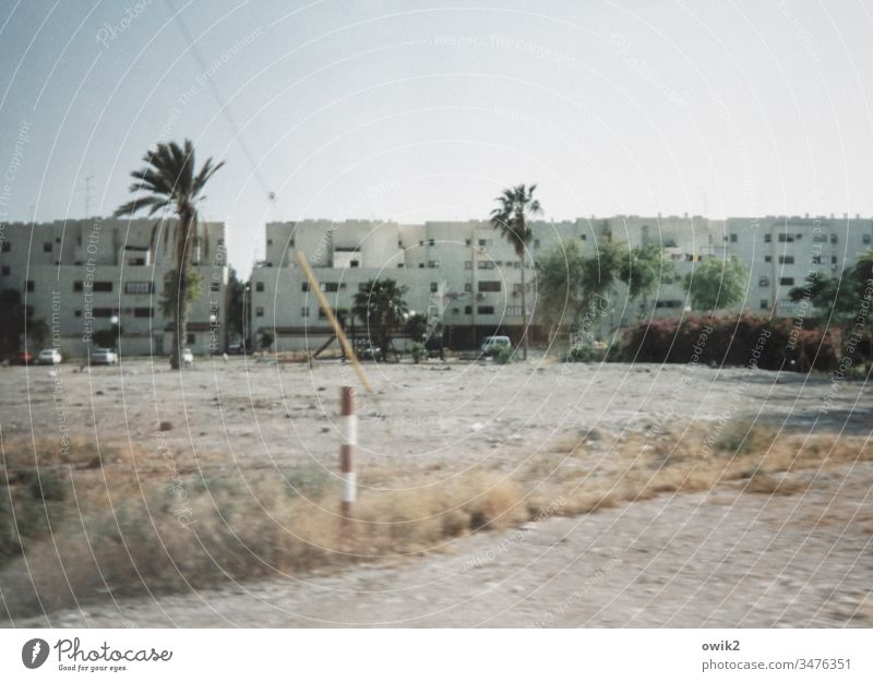 Beit Shean Israel Small Town palms Outskirts Exterior shot Subdued colour House (Residential Structure) Wall (barrier) Wall (building) Facade Architecture