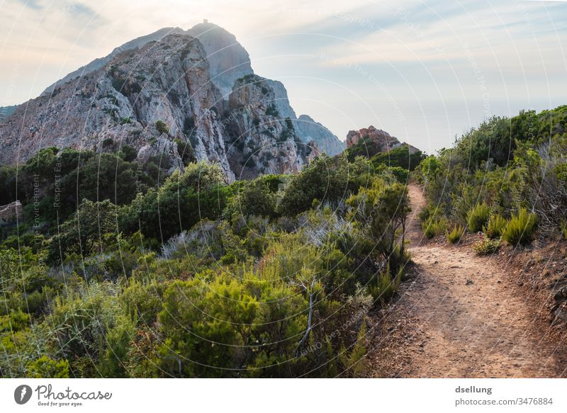 Idyllic hiking trail in the countryside with a view of an imposing mountain rising above the horizon Evening distance Looking Strong already Wellness Discover