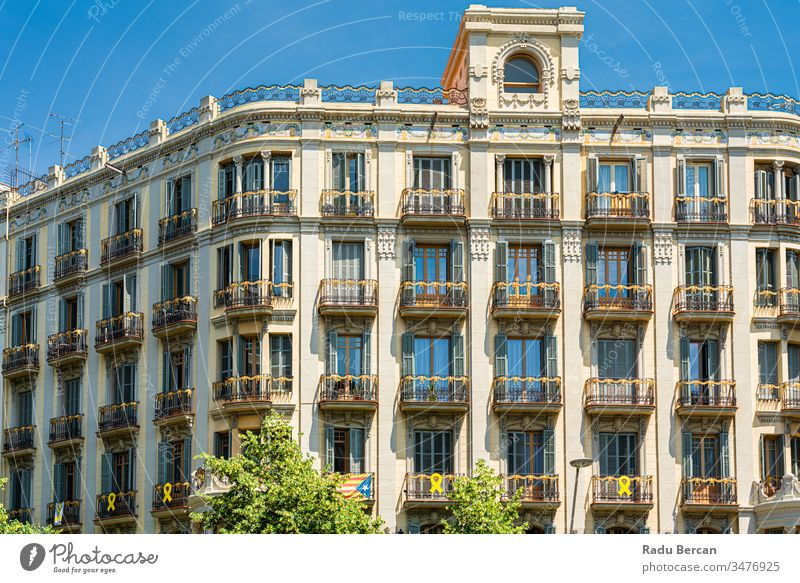 Detail Of Beautiful Facade Building Architecture In City Of Barcelona, Spain spain barcelona spanish landmark europe town architectural catalonia street urban