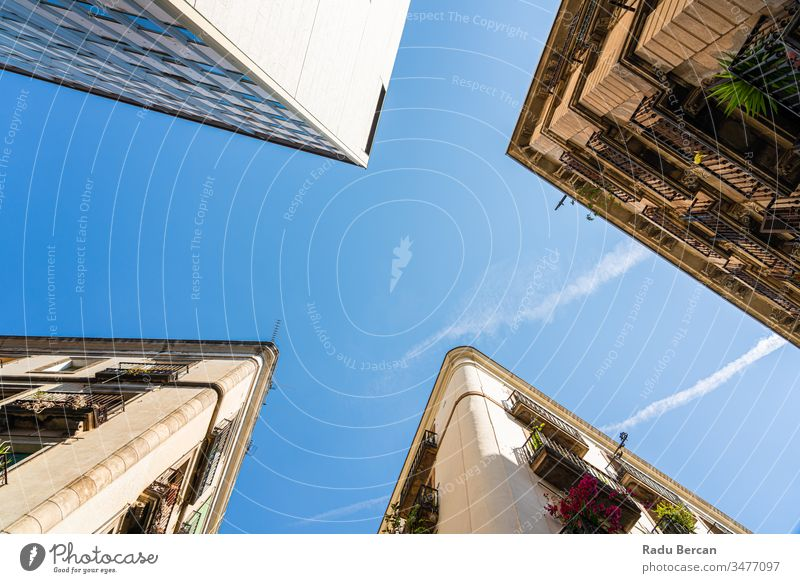 Detail of Beautiful Buildings Architecture In City Of Barcelona, Spain Shot With Perspective View barcelona el raval city center quarter gothic downtown spain