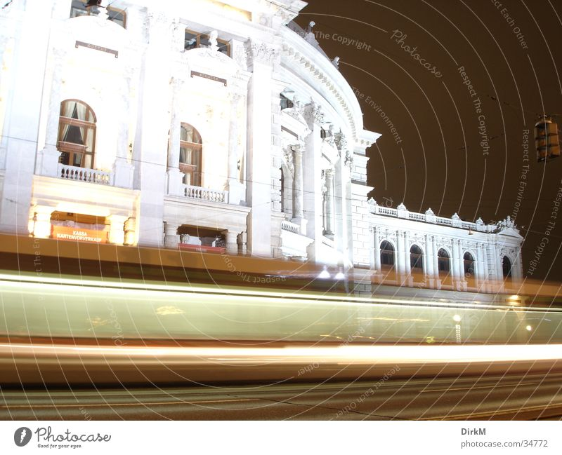 Burgtheater Imperial Court Theatre Vienna Night Long exposure Transport Europe Movement