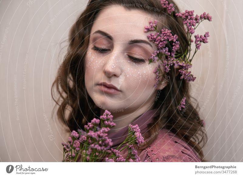 purple make-up Flower face painting Woman Beautiful