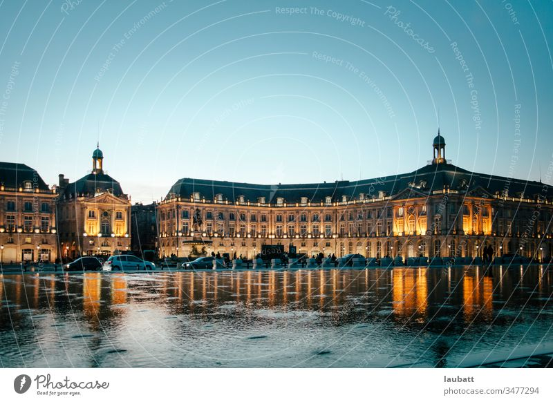 Bordeaux cityscape, Aquitaine, France - Landscape from the Garonne river of the French city of Bordeaux bordeaux aquitaine france gironde bourse mirror ancient