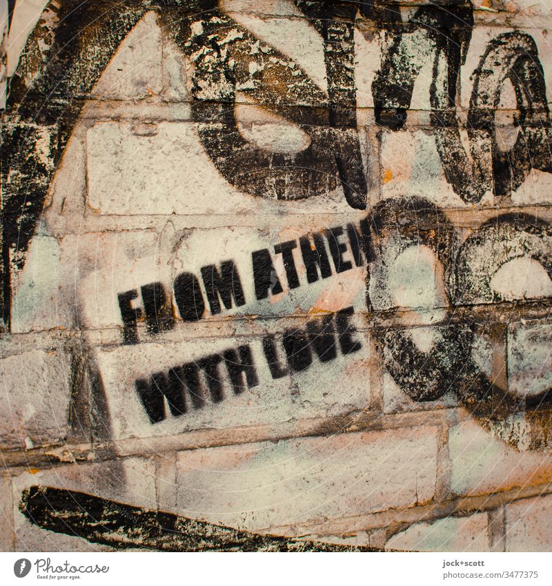 From Athens with love Subculture Stencil Abstract Creativity Inspiration Moody stencil Street art Style Uniqueness Illustration Graffiti Subdued colour Trashy