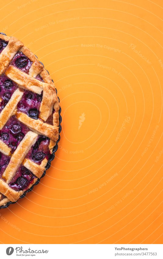 Blueberries lattice pie with a golden crust. above view american baked bakery blueberry filling blueberry pie butter pastry cake calories cuisine decorated