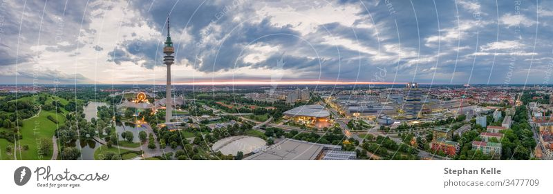 Drone aerial view of Olympiapark in the bavarian capital Munich. munich europe germany building architecture grass olympiapark nature outdoor city house day