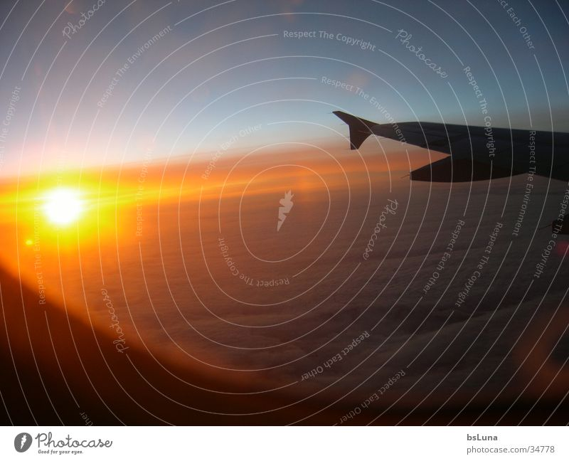 we love germanwings Sunset Airplane Clouds Light Brilliant Aviation Sky Wing