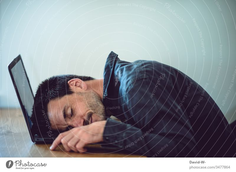 Man fell asleep on laptop fallen asleep at work reengineered home office Sleep Break tired Fatigue tranquillity Sleeping place Workplace labour Computer