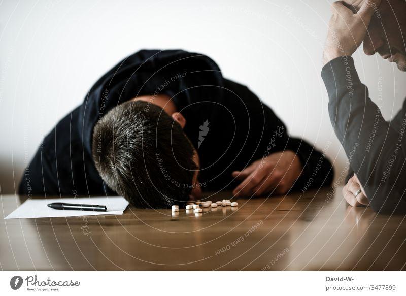 suicidal Suicidal tendancy suicide Man tablets dead Death Overdose Suicide suicide note spirit Soul repent too late sad Photomontage creatively somber Dreadful