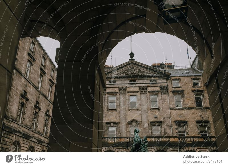 Historical stone building with arches and columns architecture old historic city ancient scotland edinburgh exterior travel landmark sightseeing tourism street