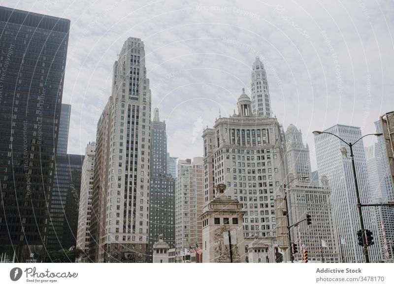Modern cityscape with contemporary architecture skyscraper building modern urban skyline tree downtown exterior district street high metropolis chicago usa