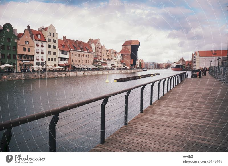 postcard Gdansk Poland Exterior shot Colour photo Copy Space top Deserted Copy Space bottom Copy Space left Copy Space right Sky Baltic Sea Gdánsk Town Old town
