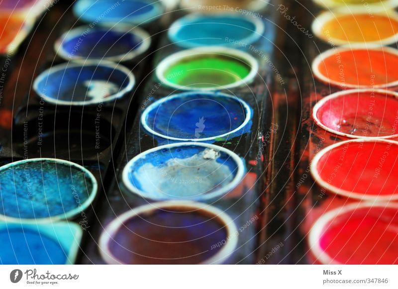 variegated Leisure and hobbies Art Dirty Multicoloured Colour Paintbox Watercolor Watercolors colour palette Dye Blaze of colour Prismatic colors Blue