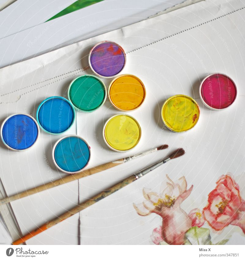 Colour Dye Art Leisure and hobbies Creativity Painting and drawing (object) Draw Paintbrush Work of art Watercolors Watercolor Paintbox