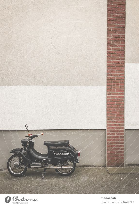 Motorcycle in front of a dreary wall - urban monotony moped Vehicle mobile Wall (building) Staft Berlin Gloomy Trashy Lonely on one's own Loneliness Lifestyle
