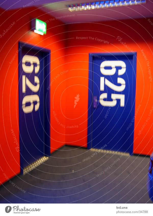 626 Hotel Room Digits and numbers Red Style Hallway Architecture Door room number Blue Modern hotel corridor