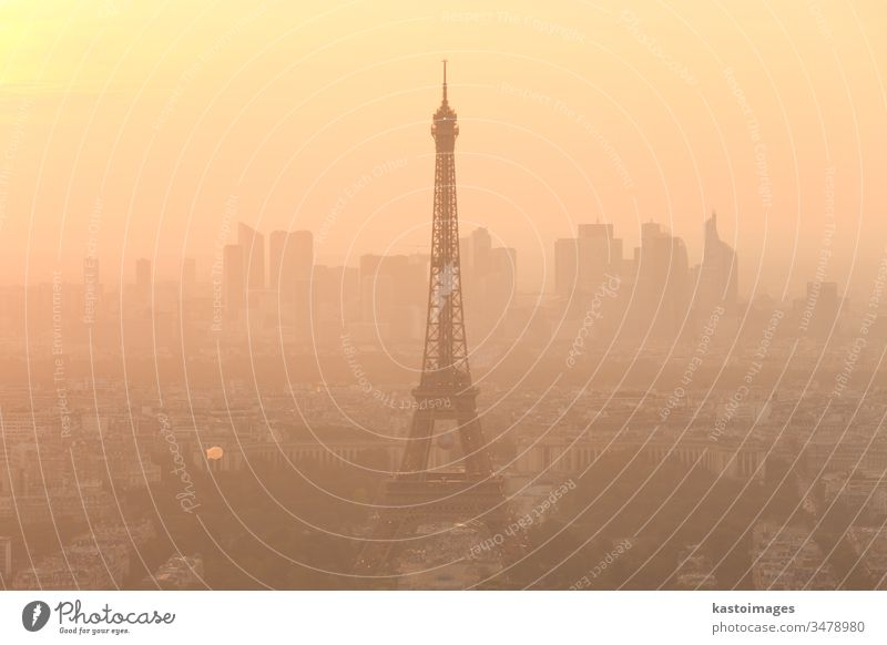 Aerial view of Paris at sunset. paris Eiffel tower eiffel france skyline city travel landmark cityscape panorama panoramic aerial horizon building roof french