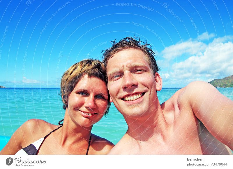 honeymoon | shiny happy people affectionately Summer Smiling contented Happy fortunate Couple Emotions Lovers Married couple Contrast Day Light