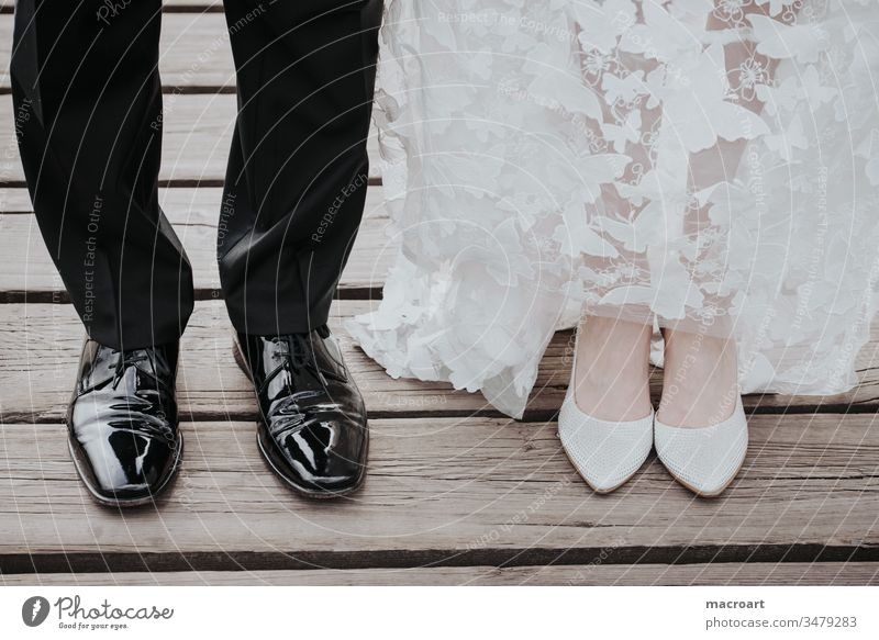 wedding photography Wedding Photography wedddings bridal couple bridal shoes Patent shoes foot Side by side Legs Married Row Black Suit Bride groom