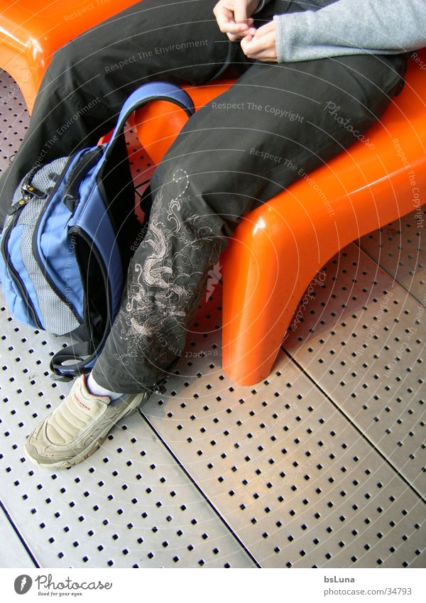 Human being Style Footwear Legs Orange Modern Chair Plastic Dragon Section of image Backpack