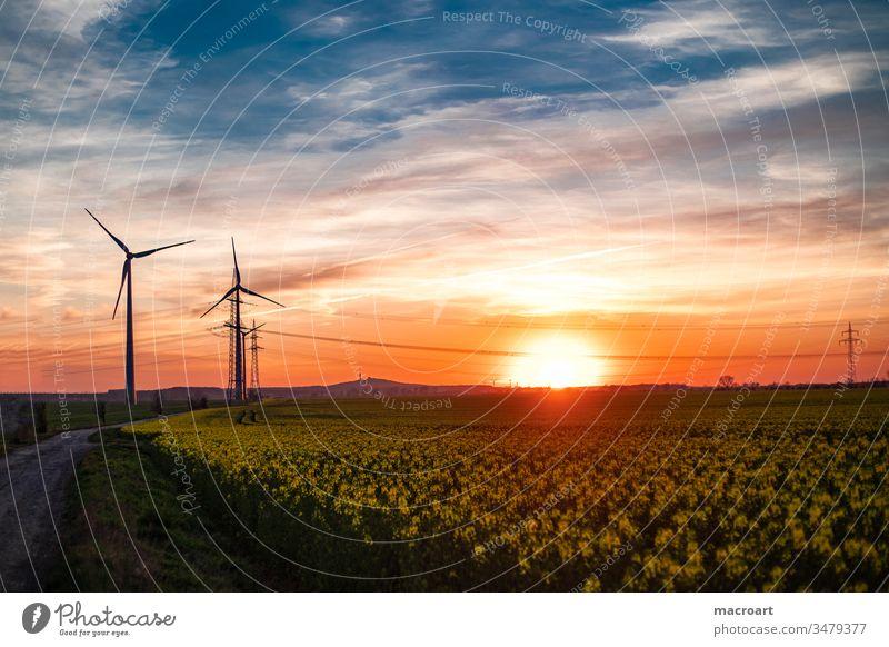 wind turbine Winker power plant wine energy stream Energy Tension Cable power supply Alternative renewable Steel carrier Nature Evening sun sunset Electrics