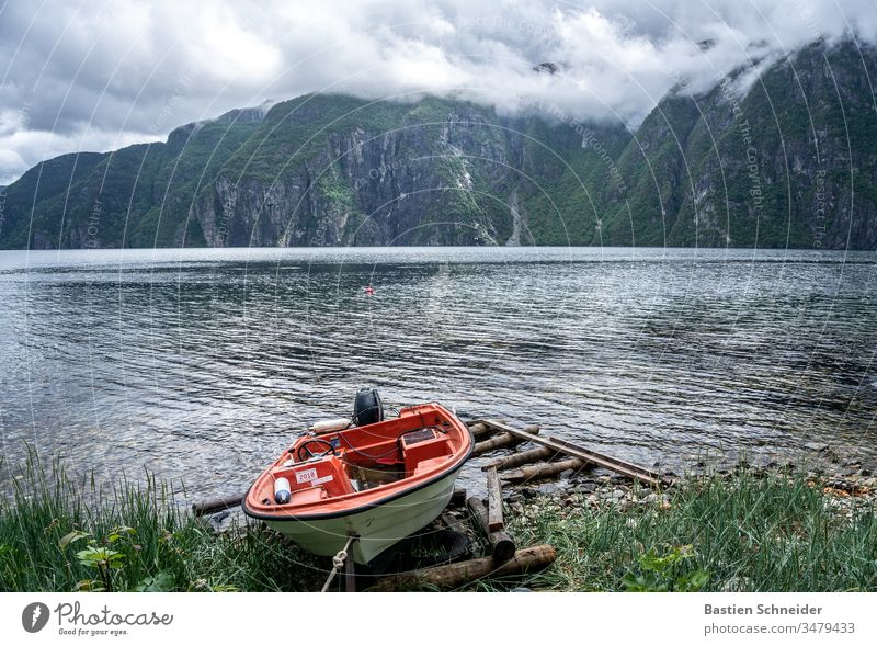 Mooring in Norway Scandinavia Sky Environment Nature Landscape Exterior shot Colour photo Beautiful weather Vacation & Travel Deserted Day Light Reflection